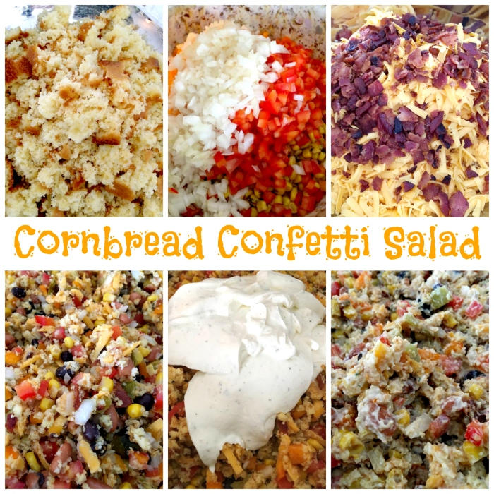 Cornbread Confetti Salad - A delicious blend of cornbread, beans, veggies, cheese, bacon & ranch. A great side dish/dip for any gathering!