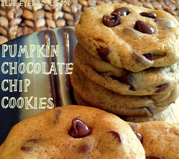 Chewy Pumpkin Chocolate Chip Cookies   Blue Eyed Soul Food