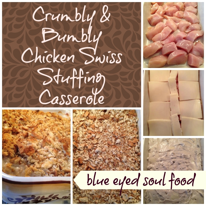 A chicken casserole with a creamy coating and topped with a buttery herb seasoned stuffing mix. It is comfort / soul food at it's best!
