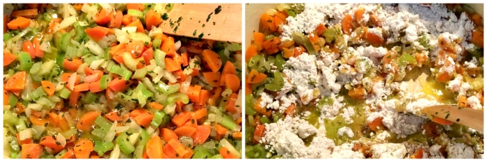 Chopped carrots, celery & onion